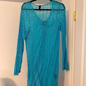 Swimsuit see through bright blue coverup
